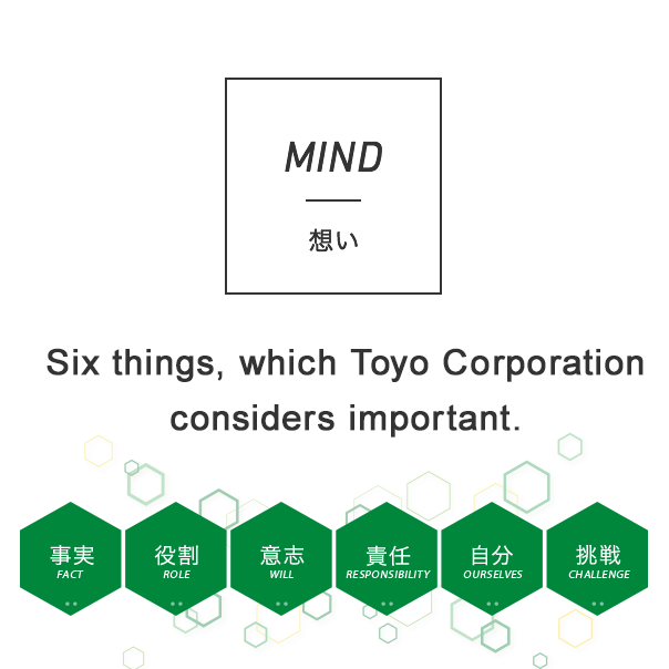 MIND 想い Five things, which Toyo Corporation considers important.